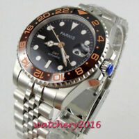 40mm PARNIS black dial jubilee strap Sapphire glass GMT automatic mens watch
