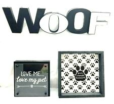 Dog Woof Word Sign Plaques 3 pc Lot - Pet Animal Wall Home Decor