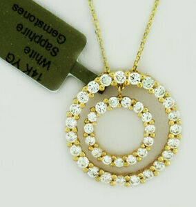 DOUBLE CIRCLE OF LIFE WHITE SAPPHIRE 1.60 Cts PENDANT 14K GOLD ** New With Tag