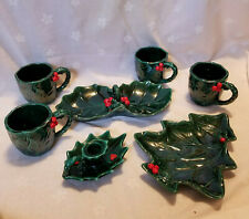 7 pc Lot Vintage Lefton Christmas Tree Holly Berry Candy Dish Cups Candle +