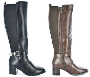 Ladies Classic Full Inside Zip High Leg Boot Black SIZE UK 3 - 8