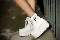 Womens Gothic Buckle Lace Up Ankle Boots Platform Wedge Shoes Punk Creepers