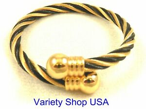 Twisted Wire Magnetic Bangle Bracelet Black and Gold TW01BLG