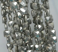 """8X8MM PYRITE GEMSTONE FACETED SQUARE LOOSE BEADS 7.5"""""""