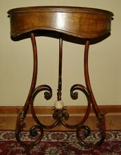 MCM Ornate Bentwood Style Table W Scrolled Legs And Carved Marble Center Ball