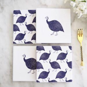 Guinea Fowl Tile Coaster Set x4 Dolomite & Cork Hamptons Coastal Home Decor