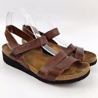 NAOT Womens Kayla Dark Brown Leather Ankle Strap Sandals Cork Footbed Sz 8 M