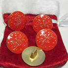 """5 PCS. -Giant 1 3/8"""" Bright Gold With Red Background Sew On, Santa Claus Buttons"""