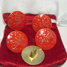 "5 PCS. -Giant 1 3/8"" Bright Gold With Red Background Sew On, Santa Claus Buttons"