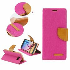 ^ Book Case CANVAS Cover Hülle Handy Tasche Etui Buch Huawei Mate 10 Lite Pink