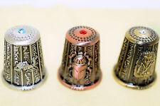 Lot x3 Egyptian Египет Ägypten Pharaoh Metal Dedal Thimble 3 different colors