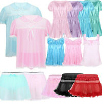 Men's Sissy Lace Lingerie Dress Underwear Pajamas Skirt Panties Crossdress Night