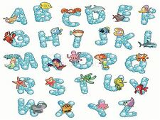 ART PRINT PAINTING CARTOON ALPHABET SEA ANIMALS MERMAIDS KIDS VECTOR LFMP0137