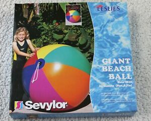 """54"""" Inflatable LESLIE`S POOL SUPPLY 6 Color GIANT HD Beach Ball VINTAGE SEVYLOR"""