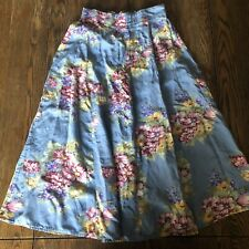 Karen Scott Skirt Vintage Blue Flowers Midi Length Small