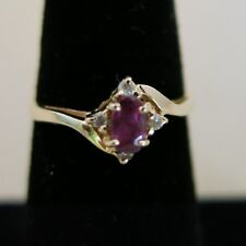 14K Yellow Gold Red Ruby Ring with 4 small Diamonds 1.6g Size 5.5 [3669]