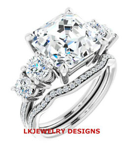 4.15 Ct MOISSANITE ASSCHER FOREVER ONE DEF 5 STONE PAVE BAND ENGAGEMENT RING