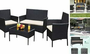 GS-4RCS0BG 4 Pieces Patio Outdoor Rattan Furniture Sets Black and Beige