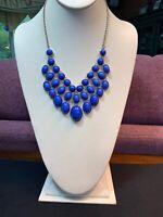 "Vintage Necklace Silver Bib statement Blue/ Lavender Chunky  Lucite Cabochon 18"""