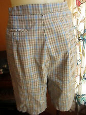 "25"" 25W High Waist True Vtg 60s womens COTTON SIDE ZIP RELIC GREEN PLAID Shorts"
