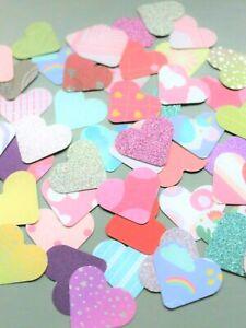 50 x MIXED SHAPES HEARTS CARD MAKING CRAFT EMBELLISHMENTS SCRAPBOOK