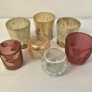 Tea Light Votive Holder Glass Antiqued Crackle Home Decor