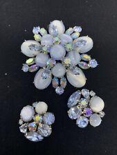 Vintage Juliana Style Blue AB Rhinestone Moon Glow Flower Brooch Earring Set