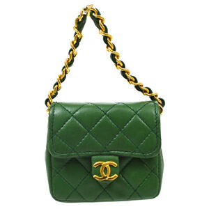 CHANEL CC Classic Flap Micro Bag Pouch Purse Green Leather Vintage Auth 71182
