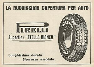Z0588 Pirelli Tyres Superflex Stella White - Advertising Of 1930 - Advert