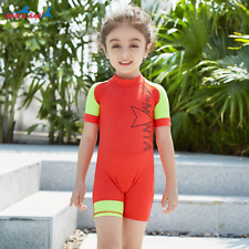 One Piece Kids Girls Boys Short Sleeve Swim Sunsuit Rash Guard Beach Swimwear