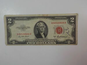 Currency Note 1953 2 Dollar Bill Paper Money Red Seal Note United States VTG NR
