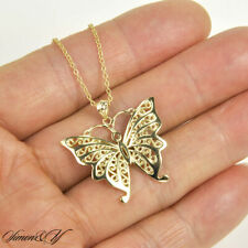 """Gold Plated Sterling silver 925 Filigree Butterfly Pendant Necklace 16""""-18"""""""