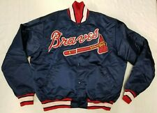 Atlanta Braves satin jacket men sz XL Starter Diamond Collection navy MLB vtg