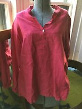 Jill McGowan Size M Medium 100% Linen Mandarin Collar Top Blouse Shirt Designer