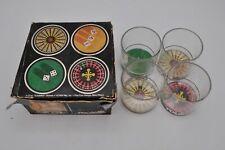 Vtg Mase In Usa Retro Casino Glasses Craps Roulette Jackpot Mid-Century Poker
