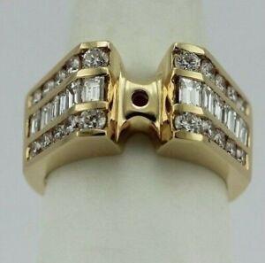 14k yellow gold 1.54ctw diamond ring semimount triple row round & baguette new