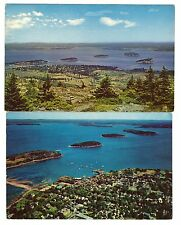 2 Postcards: Porcupine Island, Frenchman's Bay Bar Harbor, Mount Desert Maine ME