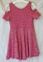 Girls Evie Pink Textured Stripe Cold Shoulder Floaty Swing Dress Age 3 Years