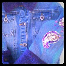 LIPSTICK COUTURE DENIM JACKET, Fur Collar  GIRLS SZ3 With Appliques, DESIGNER