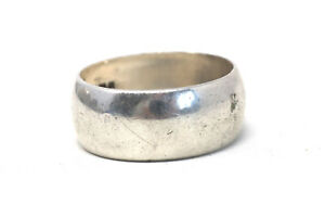 A Superb Vintage Sterling Silver C1978 Thick Wedding Band Ring #30301