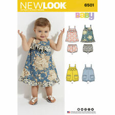 NEW LOOK Sewing Pattern Baby Infants Dress+Nappy Covers+Rompers~6501 Sz NB-L