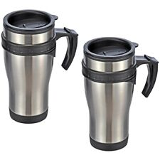 2x Stainless Steel Drinking Cup Insulated Mug Coffee To Go Mug Henkel-Coffee Mug