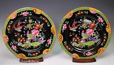 Pheasant Birds Hand Painted Early Royal Worcester Black Dinner Plates C930