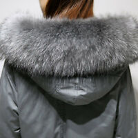 Womens 100% Real Fur Hooded Outwear White Duck Down Coat Trench Long Coat Jacket