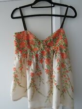 BETTY JACKSON LONDON Pretty Cream / Orange Silk Camisole Top  Size 12