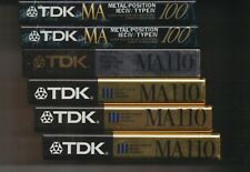 6 AUDIO CASSETTE TAPE, TDK MA-100, MA-110, JAPAN, TYPE IV, METAL, FACTORY SEALED
