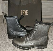 Frye Veronica Combat Womens Distressed Silver/black leather Boots Lace Ups US 9