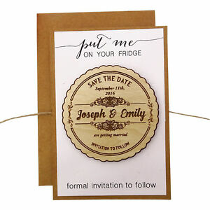 25 Custom Engraved Wooden Magnet Rustic Wedding Save the Date Wooden Magnet-MG18
