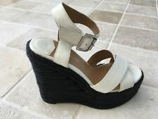 WOMENS, TONY BIANCO, WEDGE ANKLE STRAP SHOES, SIZE 37, WHITE, LEATHER NWOT #1155