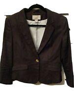 H&M Navy Blue Linen Blazer ~ Women's Size 6 M ~ Cropped, Short, Casual